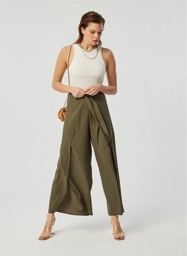 Monamoda Parça Kapamalı Bol Pantolon Haki